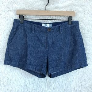 Linen Chambray Shorts Blue Mid Rise Old Navy